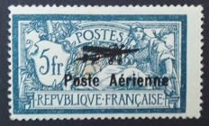 France 1927 – Aerial post 5f. blue and ochre, signed by Calves with digital certificate – Yvert n° 2