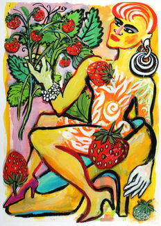Elvira Bach - Im Erdbeerhain (In the Strawberry Grove)