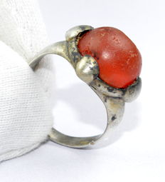 Silver Saxon Ring with Red Carnelian Gem / Stone in Bezel