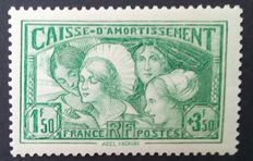 France 1931 – Caisse d'Amortissement, 1f.50 + 3 f.50 50 yellow-green, Les Coiffes, signed Calves with digital certificate – Yvert n° 269