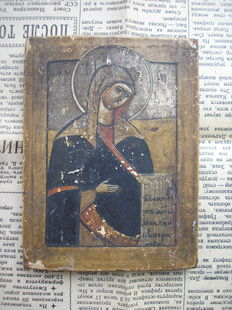 19th century ortodox russian icon of road icon of the Deesis rank Mother of God hand painted