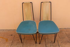 Designer Unknown - Pair of vintage kitchen chairs with leather and harp string backs