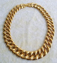 Stunning Vintage 1980s TRIFARI Gold Tone Flat Link Chain Necklace