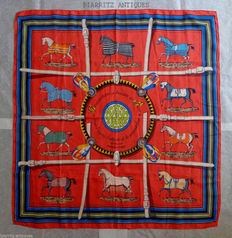 "Hermès - Square scarf ""cover and outfit for stables"" - J. EUDEL - 90 x 90, 1974"