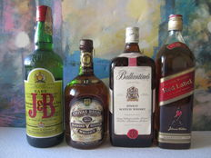 4 old large size bottles of 1 Lt.: 1 J & B Rare 1 Lt – Chivas Regal 12 years 1 Lt – Ballantines Finest 1.2 Lt – Johnnie Walker Red Label 1 Lt