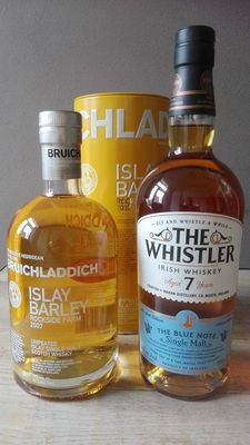 2 bottles - Bruichladdich Islay Barley 2007 Rockside farm and The Whistler Blue Note 7 years old