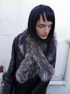 Silver fox fur hood. New, MADE IN ITALY