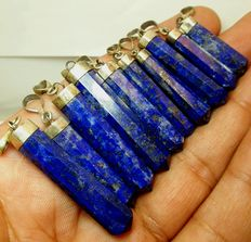 Mixed collection of fine, deep blue, silver-capped Lapis Lazuli pendants  - 28 to 45mm  (10)