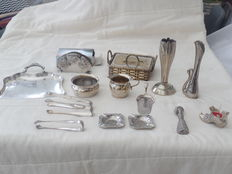 Lot of 15 silver plated items.