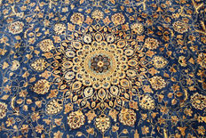 Fine Persian carpet Kashmar 3.70 x 2.97 gold/ blue handwoven in Iran high quality new wool Oriental carpet TOP CONDITION