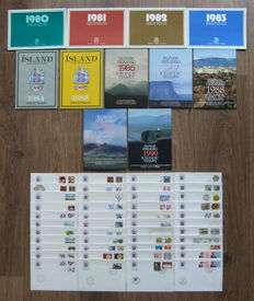 Iceland, 1980-1990, complete collection of year sets and a number of FDCs