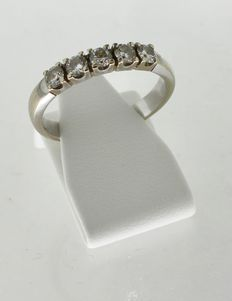 Witgouden alliance diamonde ring met diamant 0.50CT