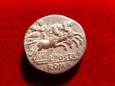 Roman republic - L. Postumius Albinus silver denarius (3,76 g. 19 mm.)  131 B.C. Rome. Mars in quadriga right. L POST ALB ROMA.