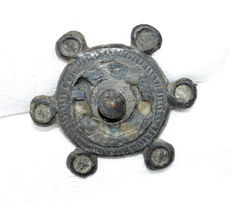 Ancient Roman Enameled Plate Brooch - 31 mm