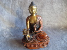 Copper and bronze statue of Bodhisattva Shakyamuni Buddha - Nepal - second half 20th century