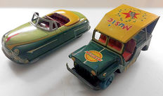 Modern Toys, Japan - Length around 20 cm - Lot with tin Western Music Jeep and Convertible No.5 with friction motor, 1950s