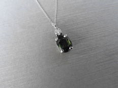 18k Gold Green Sapphire and Diamond Pendant