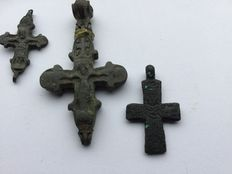 3 Large pectoral byzantine reliquary cross in bronze type Engolpion