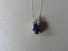 14k Gold Sapphire and Diamond Pendant