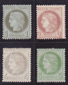 France 1872 – Stamp selection – Yvert No. 51, 52, 53, 54