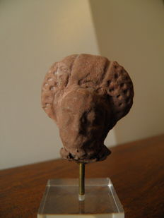 Terracotta head from the Egyptian Roman period,  Alexandria region - height 3 cm