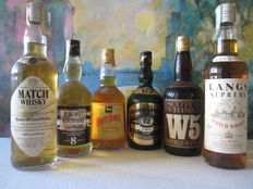 6 bottles - 1 White Horse 70 cl – Oldmoor Special 12 years 70 cl – W5 Duble U Five 75 cl – Glen Terencie 8 years 70 cl – Match Whisky 5 years 75 cl – Langs Supreme 70 cl