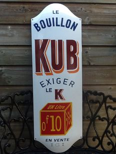 """Beautiful convex enamel sign for """"Kub Le Bouillon"""" from the late 1990s."""