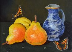Susan P Vogel. (20th century) -  Still life of butterflies, pears and a jug.