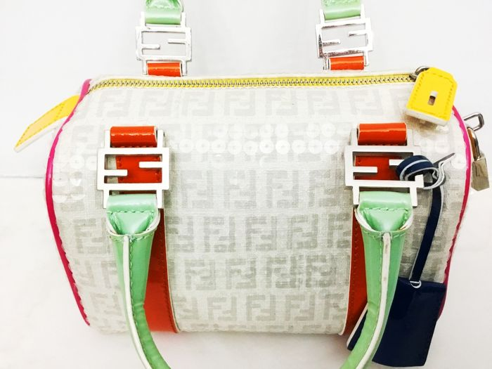 7a4705a819 FENDI – Small handbag in canvas with sequins and multi-coloured details