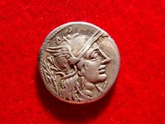 Roman Republic - M. Papirius Carbo silver denarius (3,84 g. 17 mm.), Rome mint, 122 B.C. M. CARB. ROMA.Jupiter driving quadriga right, holding scepter, reins and thunderbolt.