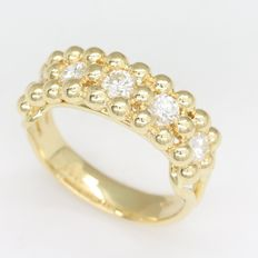 Yellow gold ring with 0.50 ct of brilliant cut F - G/Fine White / VVS-VS diamonds