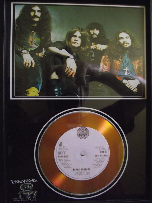 Black Sabbath, 'Paranoid' photo and gold disc effect presentation.