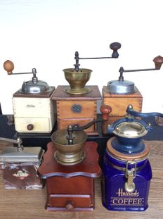 Collection of antique coffee grinders, first half 20th century