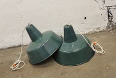 unkown designer - Polish green enamel industrial factory lights, set of two pieces