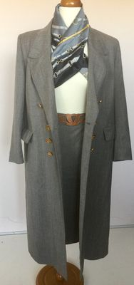 Hermes Paris - unique ensemble of coachman's coat with matching skirt
