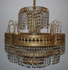 Golden chandelier with crystals, Italy, 1950s