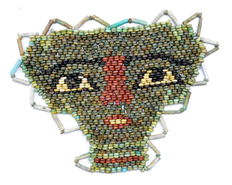 Egyptian Beaded Mummy Face Mask - 130 x 95 mm