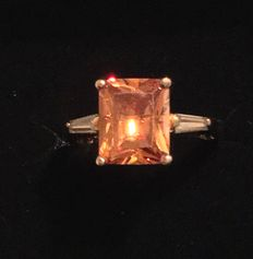 Vintage 18k Imperial Topaz with diamond Baguettes Art Deco Ring