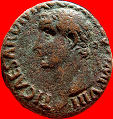 Roman Empire - Tiberius (14 - 37 A.D.), bronze as ( 11,86 g. 25 mm). Rome mint, 36 A.D. PONTIF MAX TR POT XXXIIX, S C across field, rudder on globe