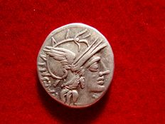 Roman Republic - C. Antestius silver denarius (3,12 g. 17 mm.) minted in Rome in 146 B.C. The Dioscuri, dog in lower field.