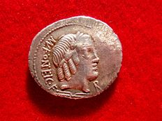 Roman Republic - Mn. Fonteius C. f. silver denarius (3,55 grs. 21 mm.), 85 B.C. - Rome. Infant winged Genius (or Cupid) seated on goat.