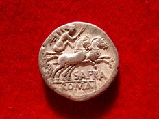 Roman Republic -Spurius Afranius, silver denarius, (3'41 g. 17 mm.) Rome mint, 150 B.C. SAFRA. Victory in biga.
