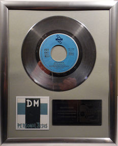 "Depeche Mode - Personal Jesus  -  7"" Single Mute Records platinum plated record by WWA Awards"