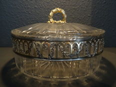 Cut crystal bowl with lid with silver mounts, first half 20th century