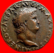 Roman empire - Nero (54 - 68 A.D.) bronze as ( 11,44 g.  27 mm.) from Rome mint. S - C, Victory flying left, holding shield inscribed S P Q R.