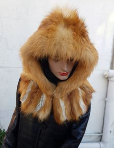 Red fox fur hood. MADE IN ITALY