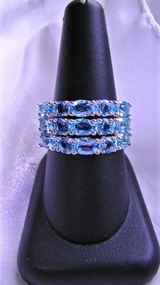 Ring set 3 pieces with topaz 6 ct ring silver 925 - 19 (GER)
