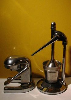 Two citrus juice presses – chrome-plated metal