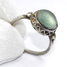 Medieval Silver Ring with Large Pale Blue Stone in Bezel - 19mm