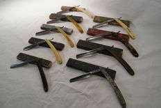 9 Barber knives in box - different brands and materials